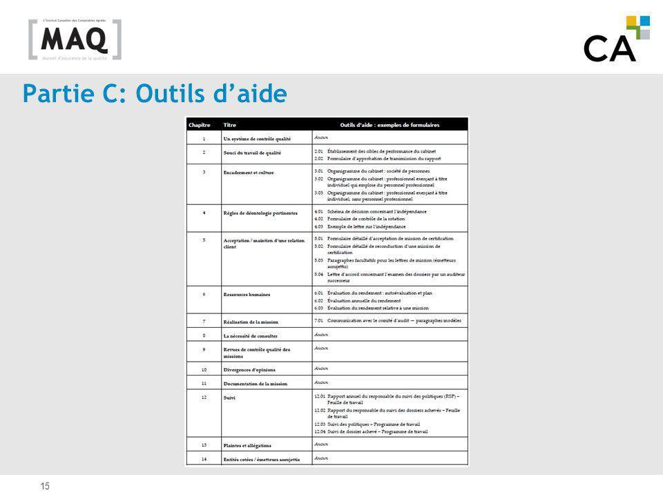 Partie C: Outils d'aide