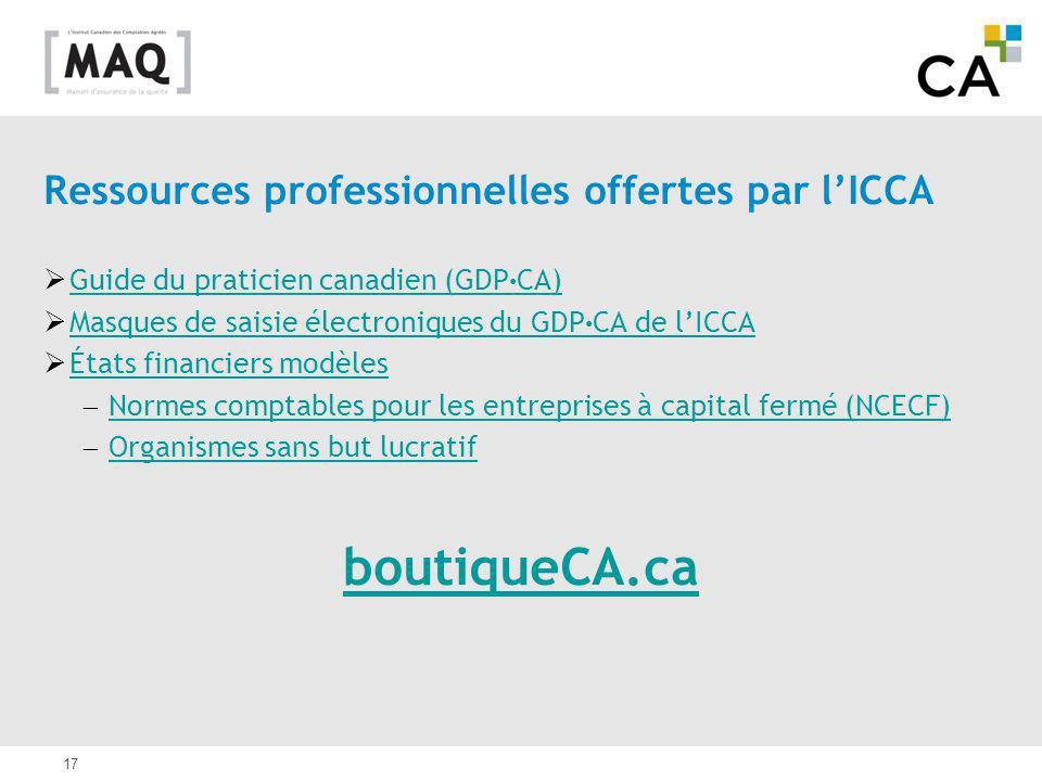 boutiqueCA.ca Ressources professionnelles offertes par l'ICCA