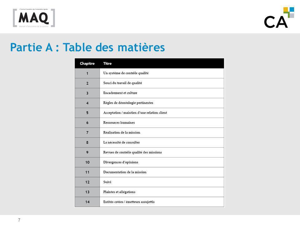 Partie A : Table des matières