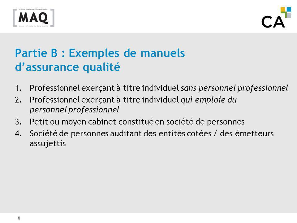 Partie B : Exemples de manuels d'assurance qualité