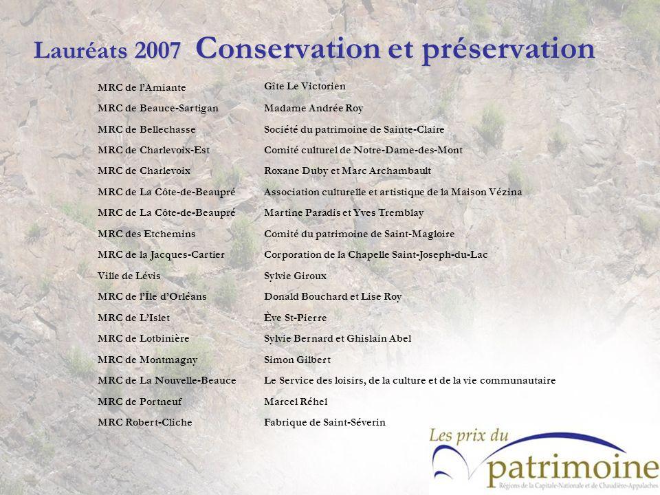Lauréats 2007 Conservation et préservation