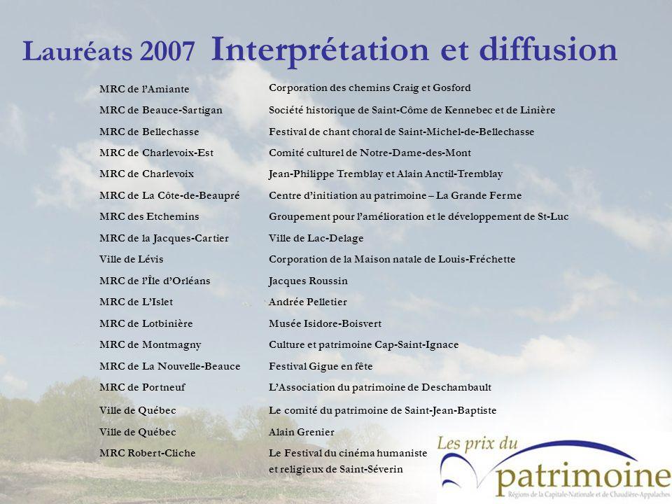Lauréats 2007 Interprétation et diffusion