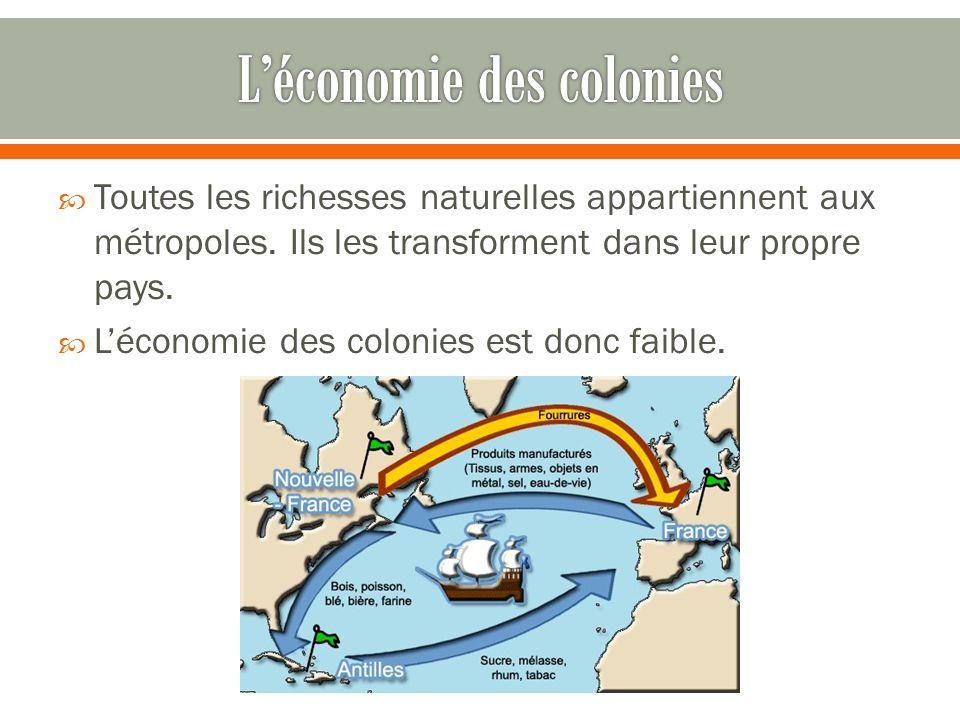 L'économie des colonies