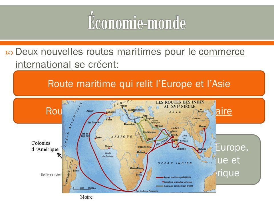 Économie-monde Deux nouvelles routes maritimes pour le commerce international se créent: Route maritime qui relit l'Europe et l'Asie.