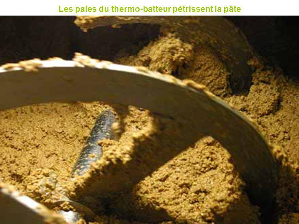 Les pales du thermo-batteur pétrissent la pâte
