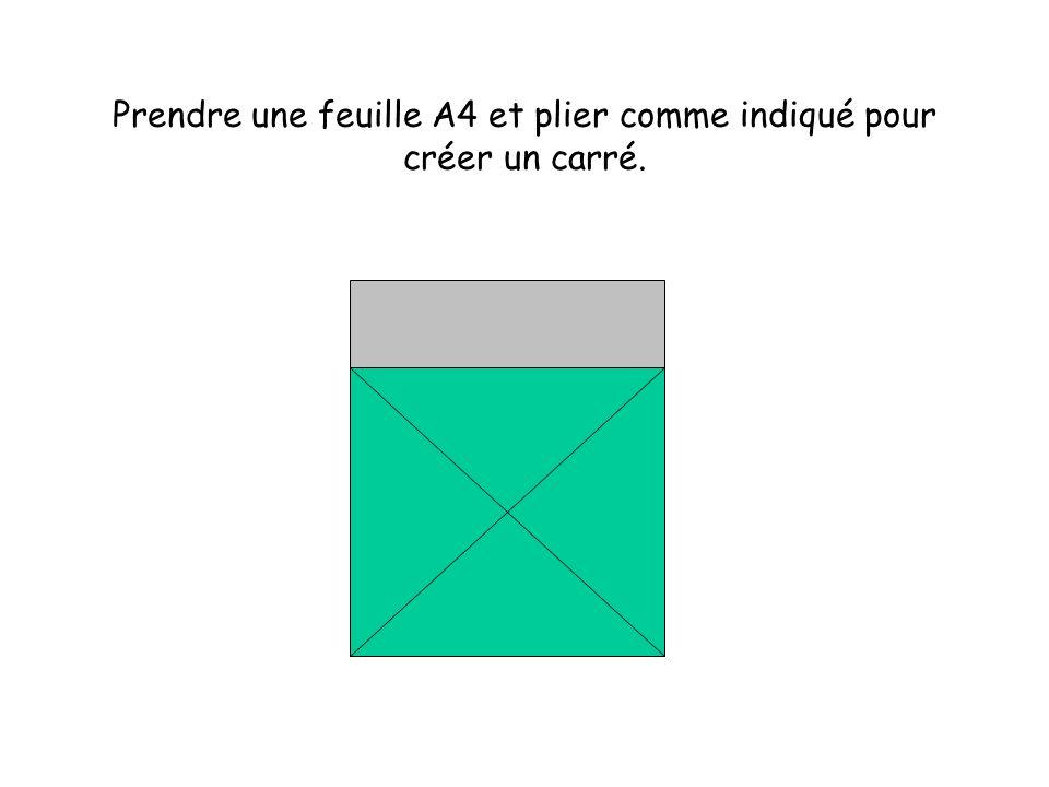 Prendre une feuille A4 et plier comme indiqué pour créer un carré.