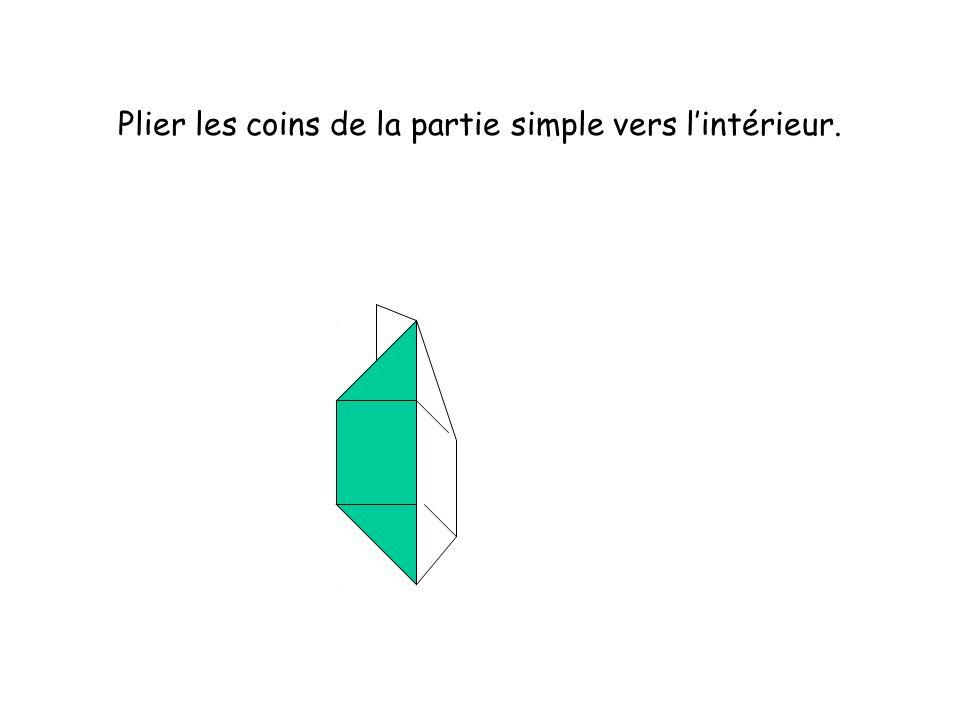 Plier les coins de la partie simple vers l'intérieur.