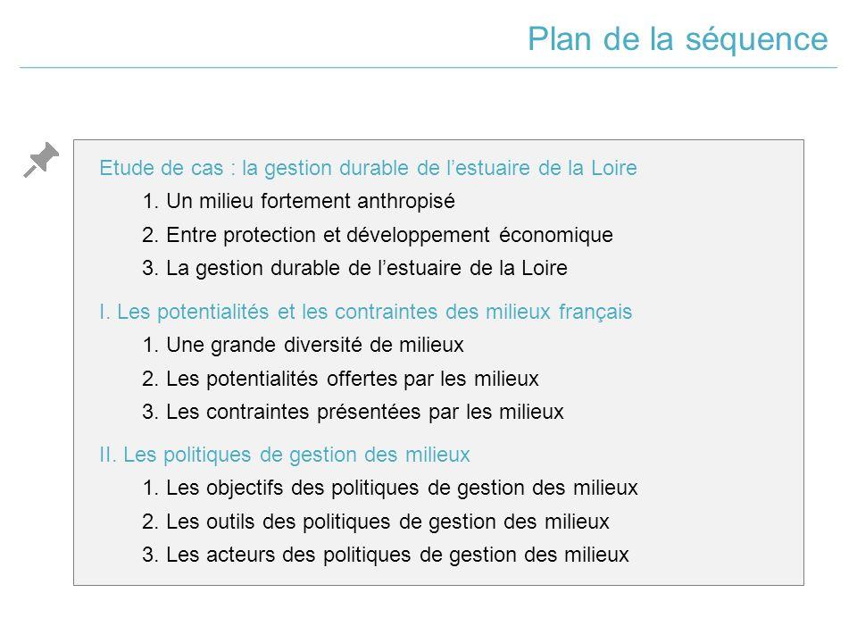 Plan de la séquence Etude de cas : la gestion durable de l'estuaire de la Loire. 1. Un milieu fortement anthropisé.