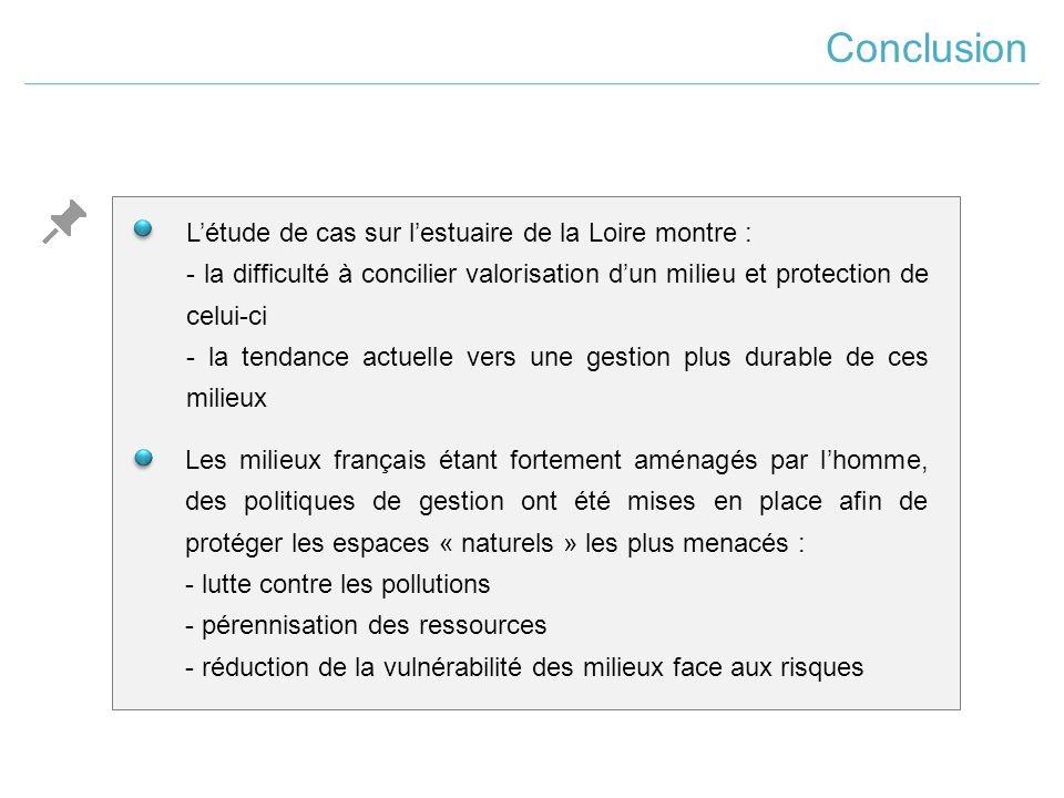 Conclusion L'étude de cas sur l'estuaire de la Loire montre :