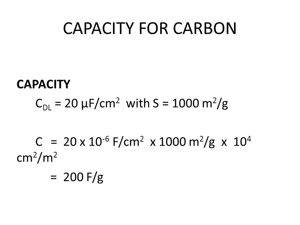 CAPACITY FOR CARBON CAPACITY CDL = 20 µF/cm2 with S = 1000 m2/g