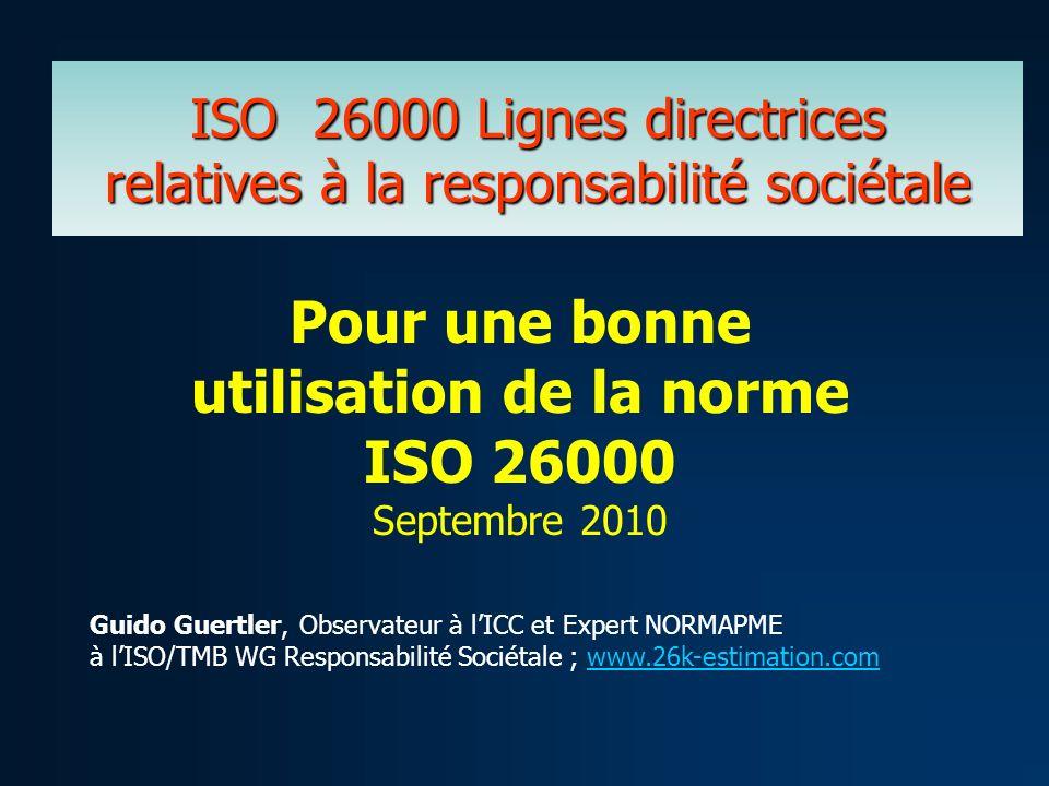 ISO 26000 Lignes directrices relatives à la responsabilité sociétale