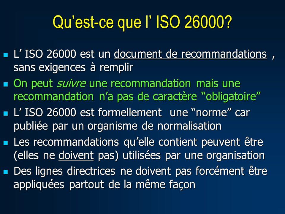 Qu'est-ce que l' ISO 26000 L' ISO 26000 est un document de recommandations , sans exigences à remplir.