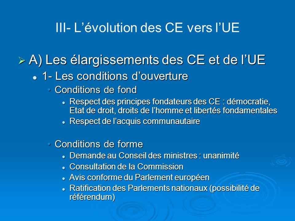 III- L'évolution des CE vers l'UE