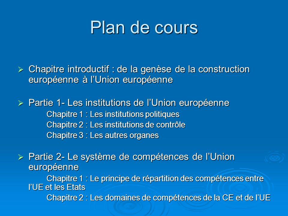 Plan de cours Chapitre introductif : de la genèse de la construction européenne à l'Union européenne.