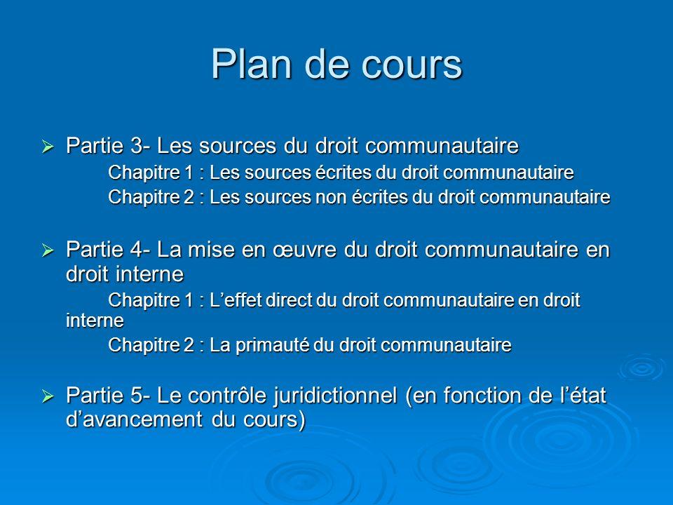 Plan de cours Partie 3- Les sources du droit communautaire