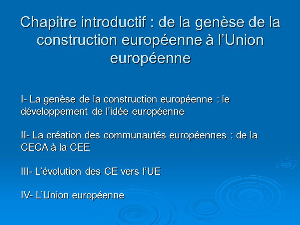 Chapitre introductif : de la genèse de la construction européenne à l'Union européenne