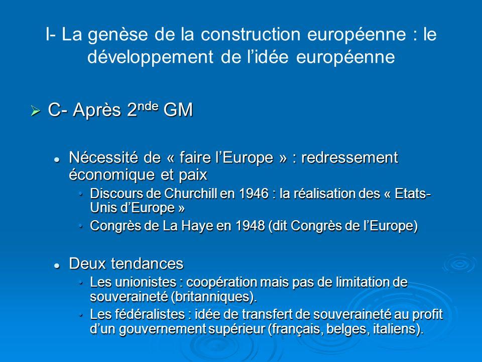 I- La genèse de la construction européenne : le développement de l'idée européenne