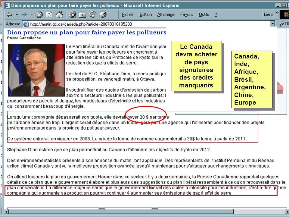 Le Canada devra acheter de pays signataires des crédits manquants