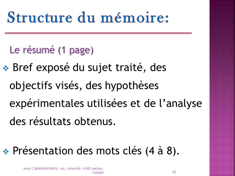 Structure du mémoire: Le résumé (1 page)