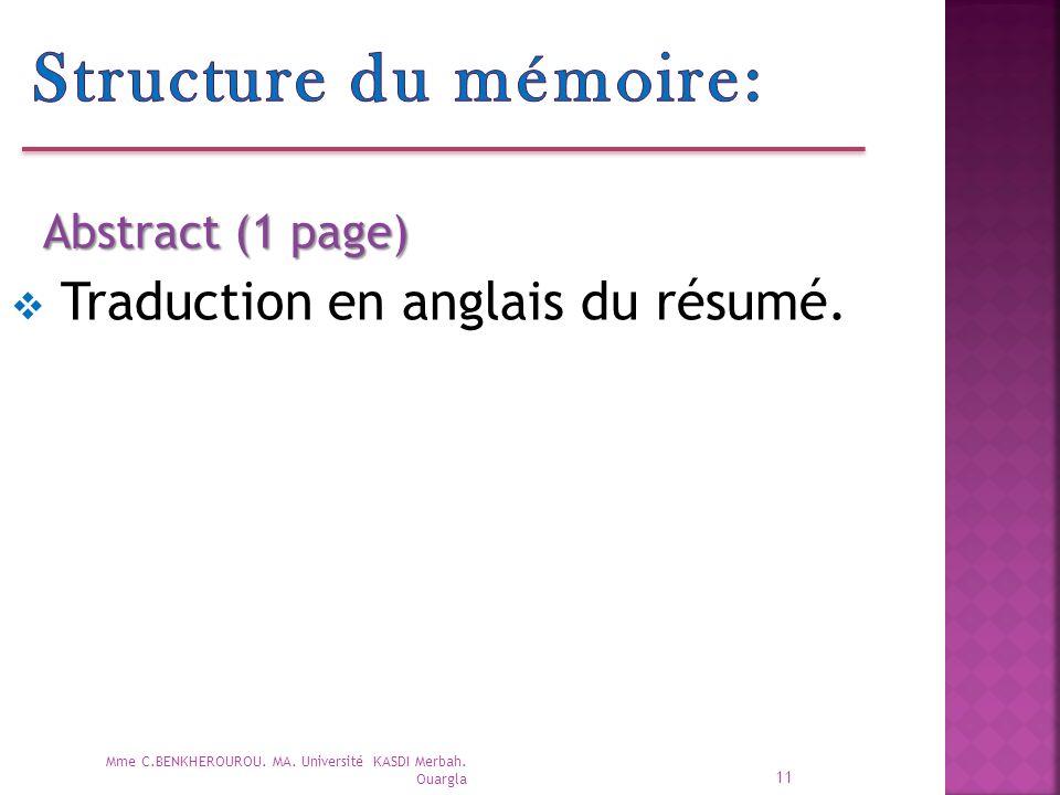 Structure du mémoire: Traduction en anglais du résumé.
