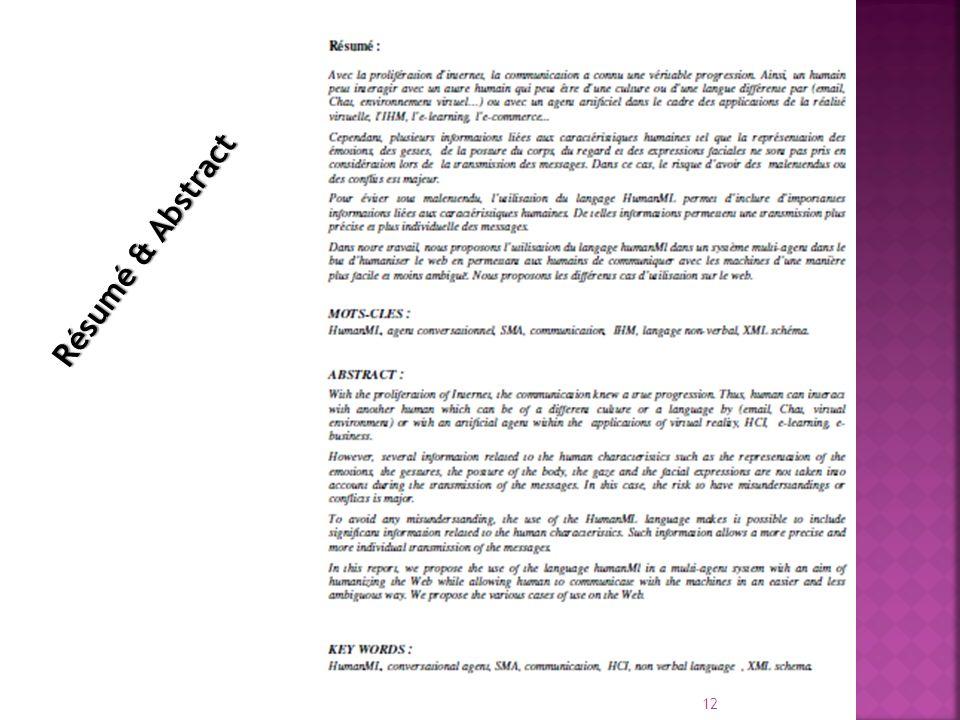 Résumé & Abstract
