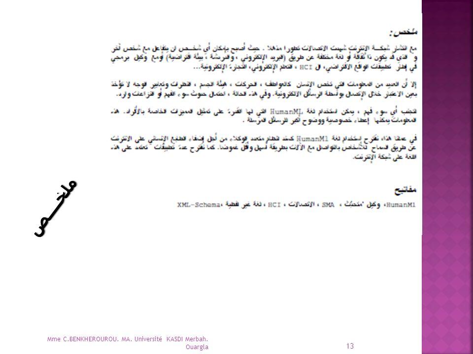ملخــــص Mme C.BENKHEROUROU. MA. Université KASDI Merbah. Ouargla