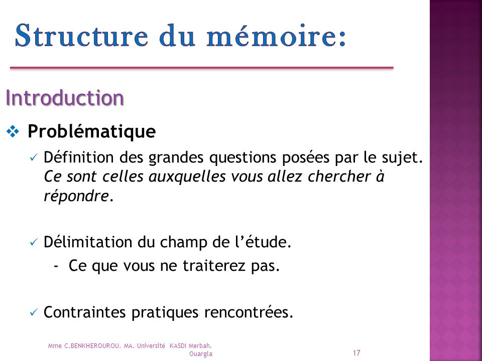 Structure du mémoire: Problématique Introduction