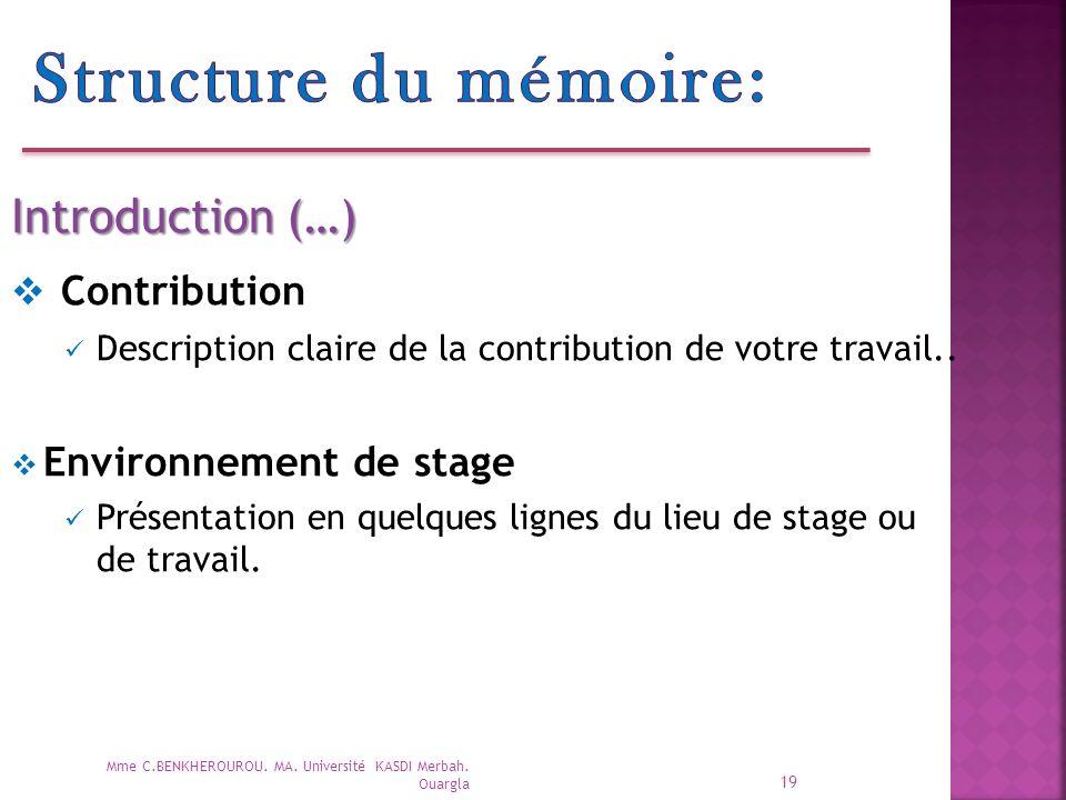 Structure du mémoire: Contribution Introduction (…)