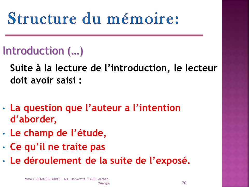 Structure du mémoire: Introduction (…) Suite à la lecture de l'introduction, le lecteur doit avoir saisi :