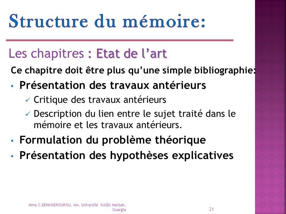 Structure du mémoire: Les chapitres : Etat de l'art