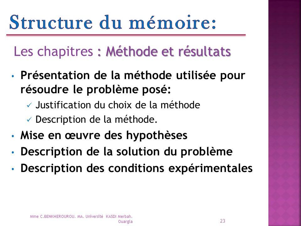 Structure du mémoire: Les chapitres : Méthode et résultats