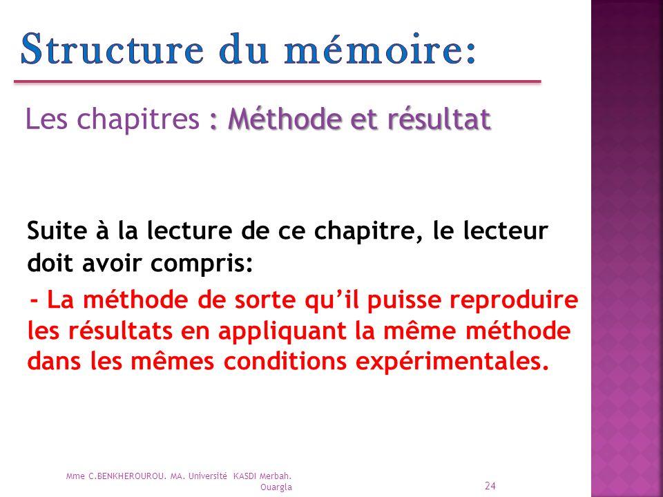 Structure du mémoire: Les chapitres : Méthode et résultat. Suite à la lecture de ce chapitre, le lecteur doit avoir compris: