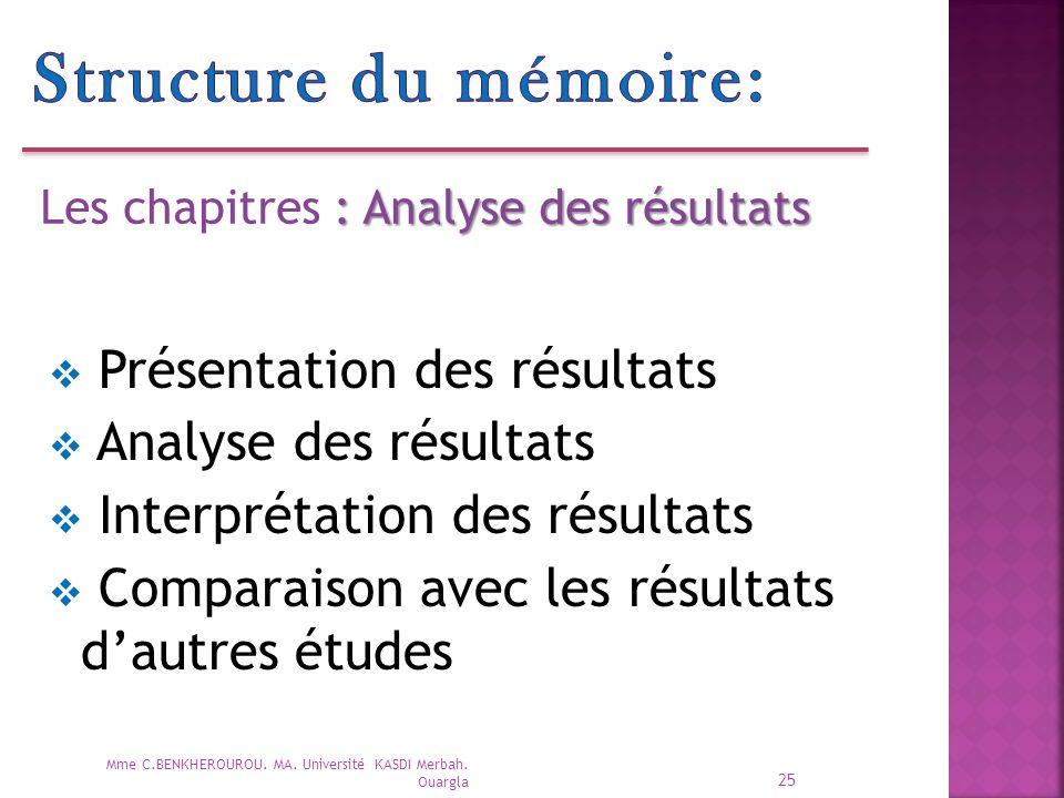 Structure du mémoire: Présentation des résultats Analyse des résultats