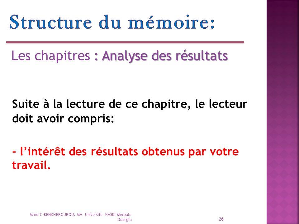 Structure du mémoire: Les chapitres : Analyse des résultats. Suite à la lecture de ce chapitre, le lecteur doit avoir compris:
