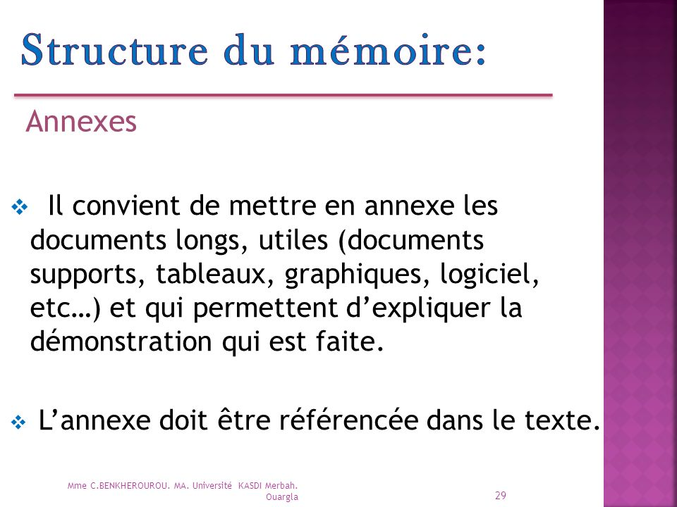 Structure du mémoire: Annexes.