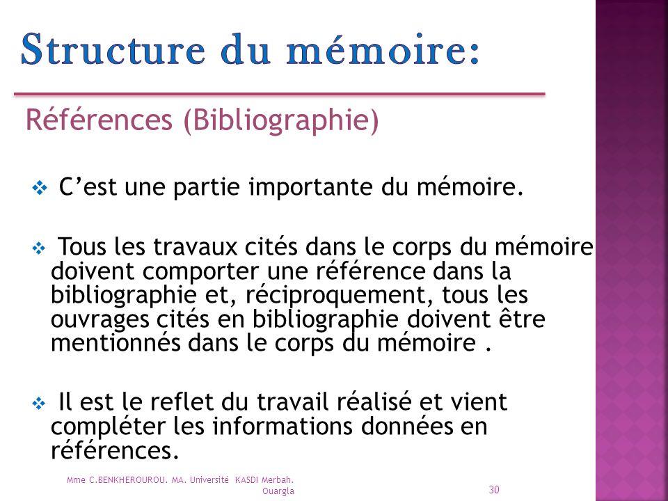 Structure du mémoire: Références (Bibliographie)