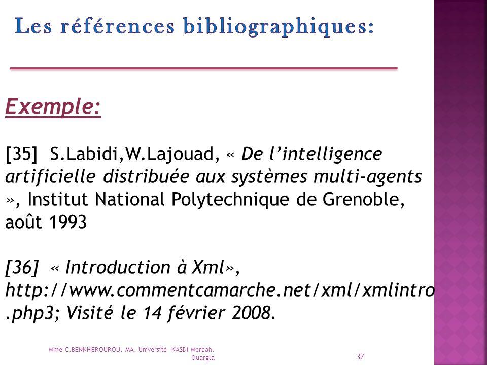 Les références bibliographiques: