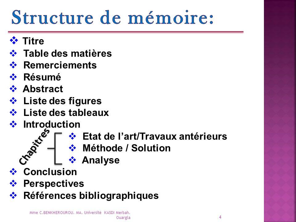 Structure de mémoire: Titre Table des matières Remerciements Résumé