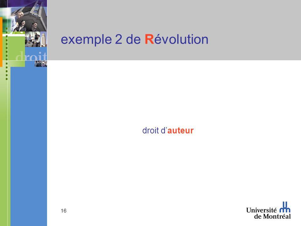 exemple 2 de Révolution droit d'auteur