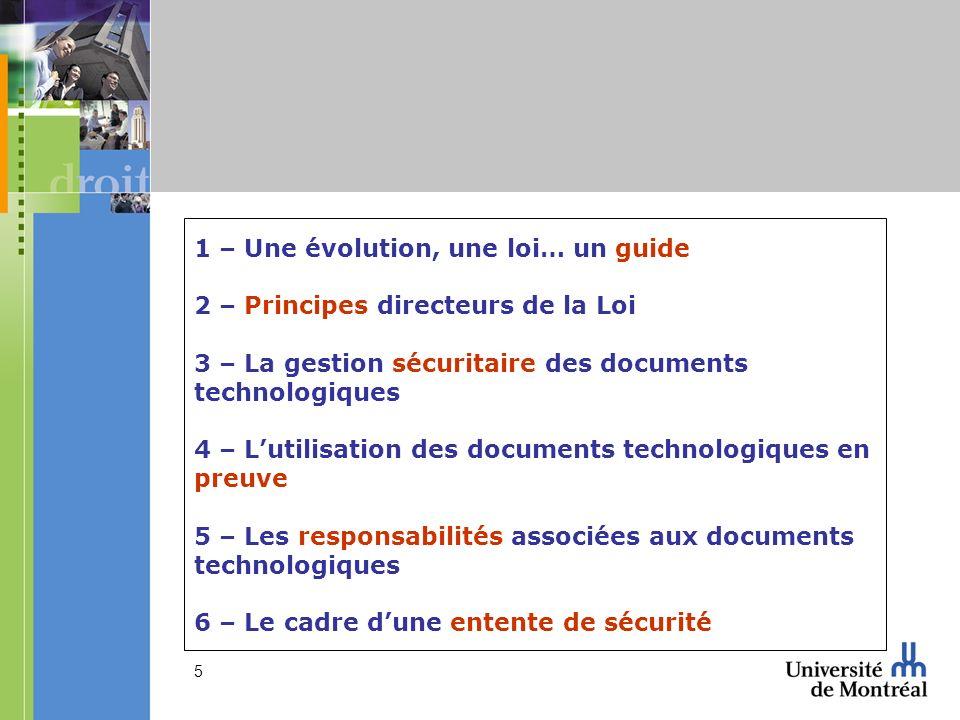 1 – Une évolution, une loi… un guide