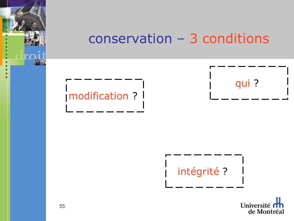 conservation – 3 conditions
