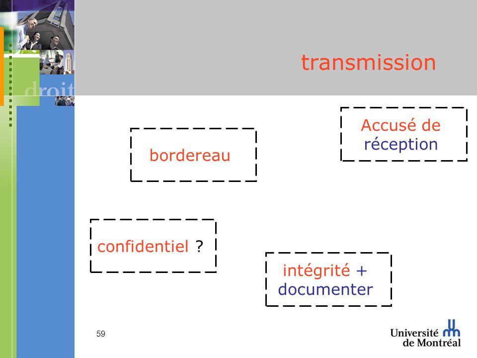 transmission Accusé de réception bordereau confidentiel intégrité +