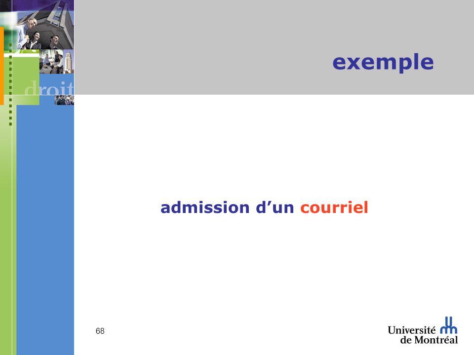 admission d'un courriel