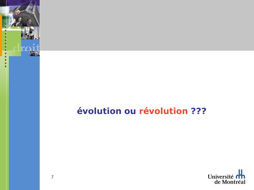 évolution ou révolution