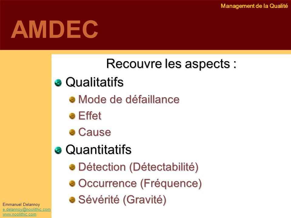 AMDEC Recouvre les aspects : Qualitatifs Quantitatifs