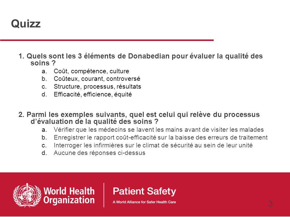 Quizz 1. Quels sont les 3 éléments de Donabedian pour évaluer la qualité des soins Coût, compétence, culture.