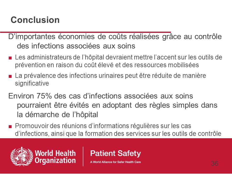 Conclusion D'importantes économies de coûts réalisées grâce au contrôle des infections associées aux soins.