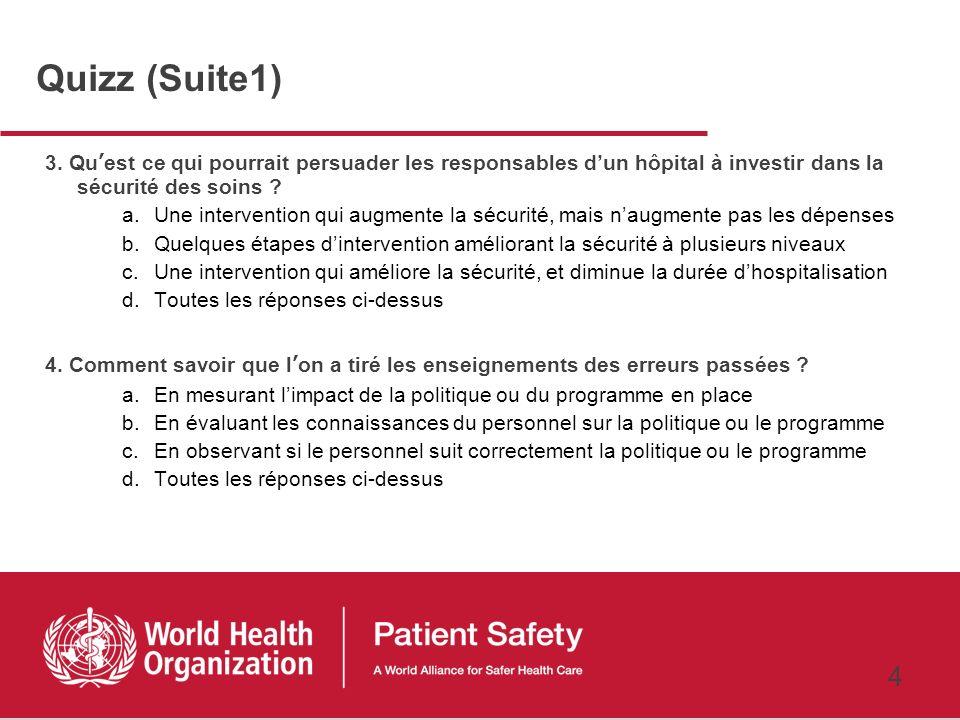 Quizz (Suite1) 3. Qu'est ce qui pourrait persuader les responsables d'un hôpital à investir dans la sécurité des soins