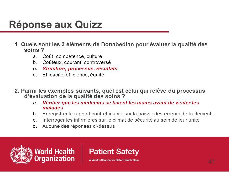 Réponse aux Quizz 1. Quels sont les 3 éléments de Donabedian pour évaluer la qualité des soins Coût, compétence, culture.