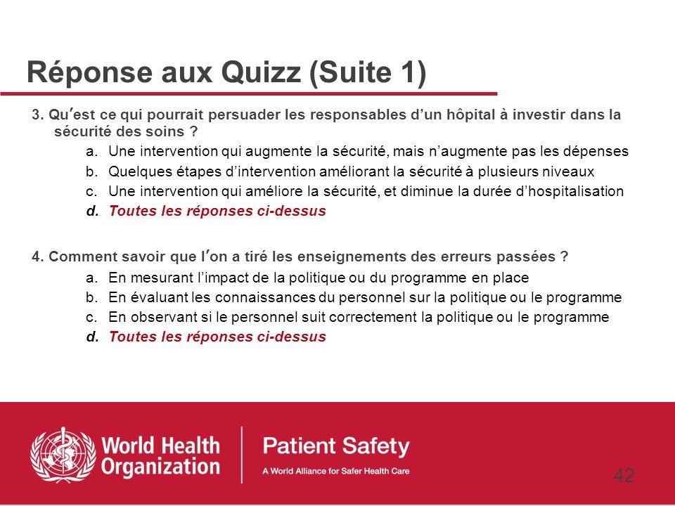 Réponse aux Quizz (Suite 1)
